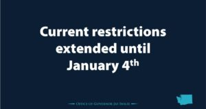 """PowerPoint slide saying """"Current restrictions extended to Jan. 4th"""""""