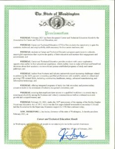 Image of CTE Month Proclamation