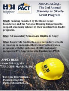 Image w/ yellow HBI hardhat and details about the Schools to Skills grant program
